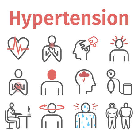 Hypertension. Symptoms, Treatment. Line icons set. Vector signs for web graphics. 矢量图像