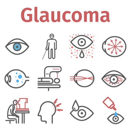 Glaucoma. Symptoms, Treatment. Line icons set. Vector signs for web graphics. 向量圖像