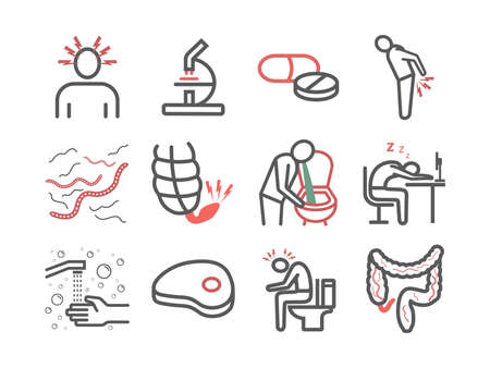 Tapeworms. Symptoms. Line icons set. Vector signs for web graphics. 矢量图像