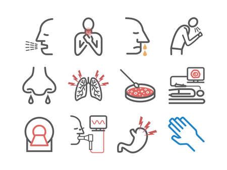 Cystic Fibrosis. Symptoms, Treatment. Line icons set. Vector signs for web graphics. 矢量图像