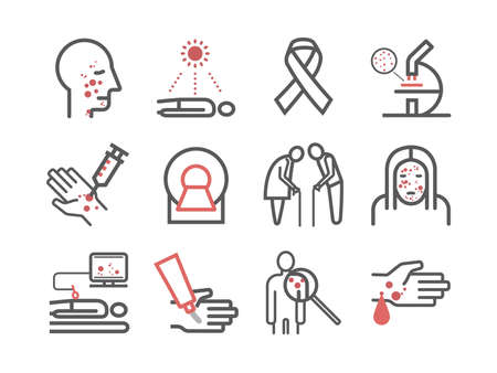 Skin cancer line icons. Symptoms. Icons set Vector signs for web graphics.