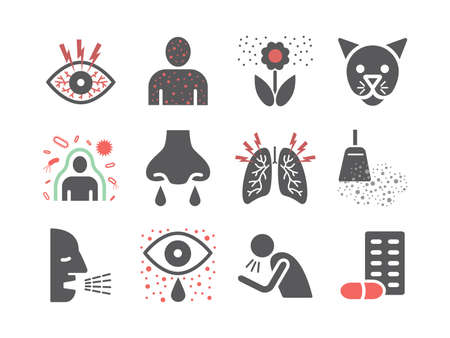 Allergy. Causes, symptoms. Flat icons set. Vector signs for web graphics.