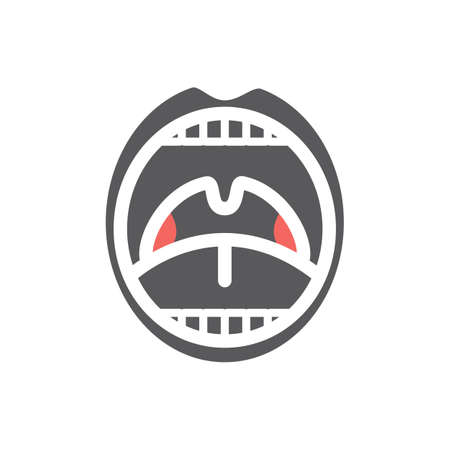 Tonsillitis. Flat icon. Vector sign for web graphics.