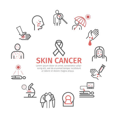 Skin cancer icons. Symptoms. Icons set Vector signs for web graphics.