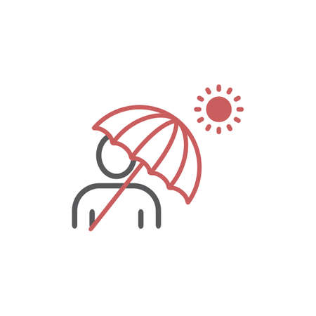 Man under umbrella on the beach. Vector flat design illustration 矢量图像