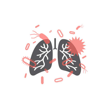 Icon of lung disease, pneumonia. Vector signs for web graphics