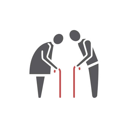 Elder People flat icon. Vector sign for web graphic.