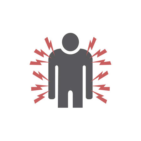 Pain in the body icon. Vector icon for web graphic. 矢量图像
