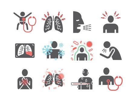 Pneumonia. Symptoms, Treatment. Flat icons set. Vector infographics.