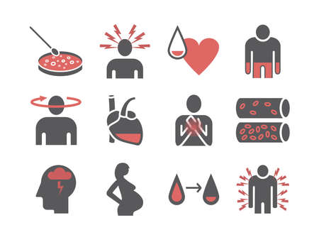 Symptoms of anemia. Iron deficiency. Diagnosis and treatment of anemia. Icons set. Vector signs for web graphics Ilustrace