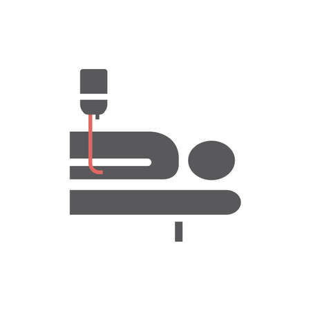 Hospital bed. Man in a coma. Vector sign for web graphic.