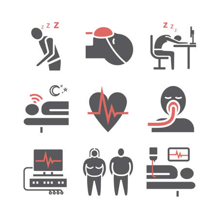 Sleep Apnea. Symptoms, Treatment. Flat icons set. Vector signs for web graphics.