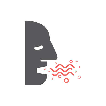 Bad Breath. Flat Icon. Vector icon for web graphic.