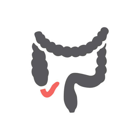 Appendicitis. Inflammation of the appendix. Vector icon for web graphic. Ilustrace