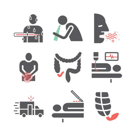 Appendicitis Symptoms and Treatment. Line icons set. Vector signs for web graphics.