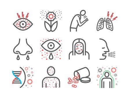 Allergy symptoms line icons infographic. Vector sign for web graphic. Ilustrace