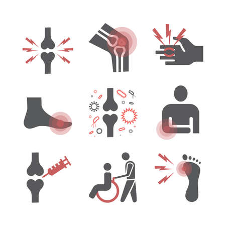 Arthritis. Symptoms, Treatment. Flat icons set. Vector signs for web graphics.
