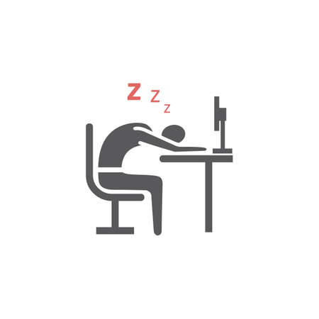 Businessman falls asleep on the work. flat icon