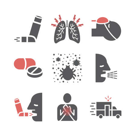Asthma icons. Symptoms. Vector signs for web graphics. 矢量图像