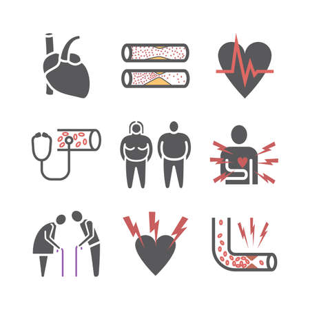 Atherosclerosis. Symptoms. Flat icons set. Vector signs for web graphics. 矢量图像