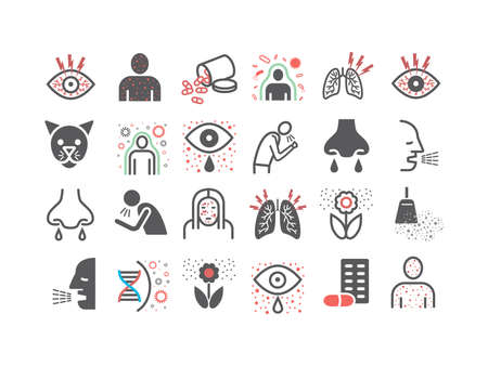 Allergy symptoms line end flat icons infographic. Vector sign for web graphic.