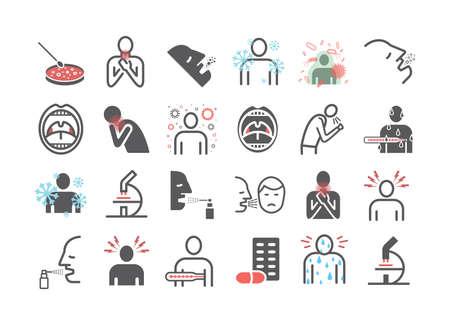 Tonsillitis. Symptoms, Treatment. Line icons set. Vector signs for web graphics.