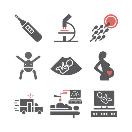 Pregnancy icons set. Infographics. Vector signs for web graphics.