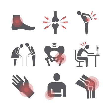 Joint pain. Icons set. Vector signs for web graphics. 矢量图像