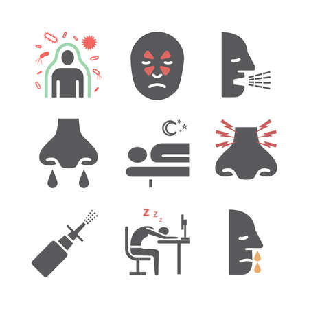 Sinusitis. Symptoms, Treatment. Flat icons set. Vector signs for web graphics 矢量图像