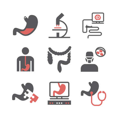 Gastroenterology icons. Hospital department. Health center. Vector sign for web graphics.