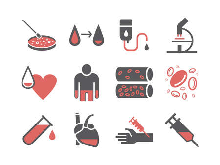 Haematology icons. Hospital department. Health center. Vector sign for web graphics. 矢量图像