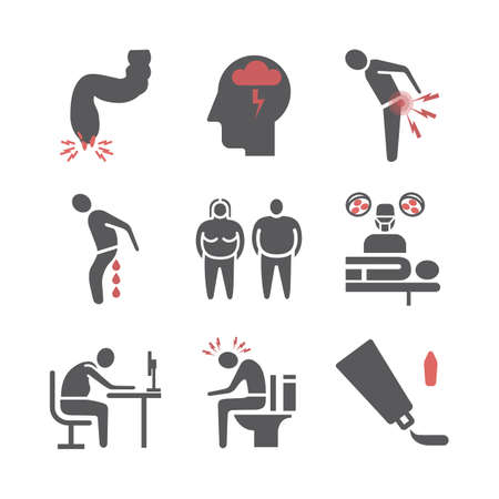 Hemorrhoids icon Infographics. Vector signs for web graphics.
