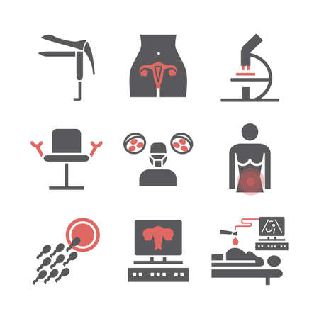 Gynecology icons. Hospital department. Health care center. Vector signs for web graphics.