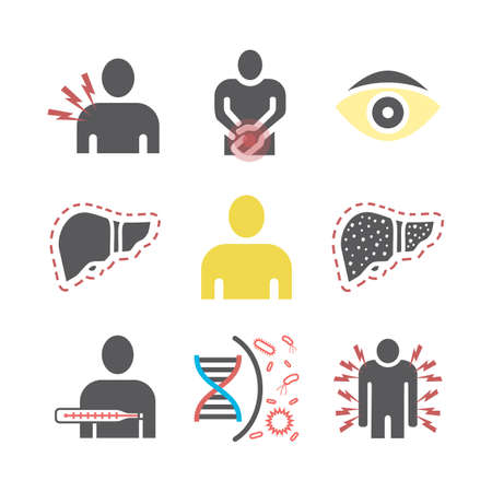 Hepatitis icon Infographics. Vector signs for web graphics.