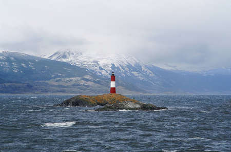 a view of a famous lighthouse on the beagle channel, near of ushuaia  tierra de fuego, patagonia