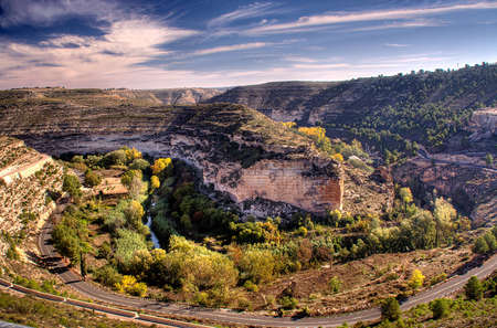 a road route through the jucar valley, in albacete province (spain)