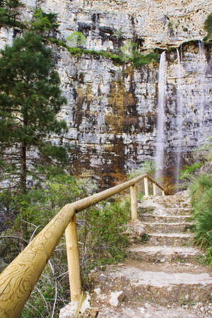 waterfall in the source of mundo river, in albacete province  spain