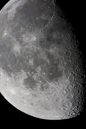close view of the moon, taken using a great telescope