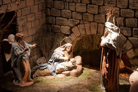 CHINCHILLA DE MONTEARAGON - DECEMBER 30: a Jesus Christ scene of the Christmas crib in the belen de Chinchilla, on December 30, 2011 in Chinchilla de Montearagon, Spain