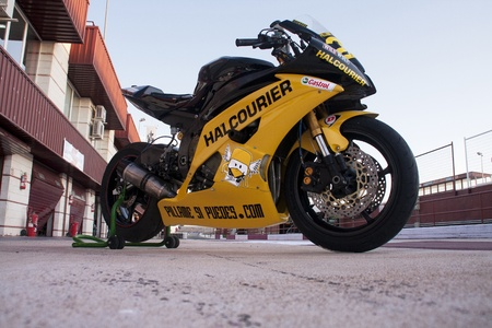 gomez: ALBACETE, SPAIN - OCT 8: Yamaha motorbike drived by Russell Gomez for Halcourier Wild Wolf MS Team, in Supersport European Championship, on October 8, 2011, in Albacete, Spain