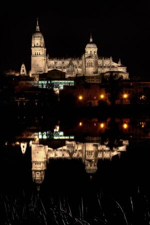 View of the new cathedral of Salamanca from the other side of the Tormes river Stock Photo