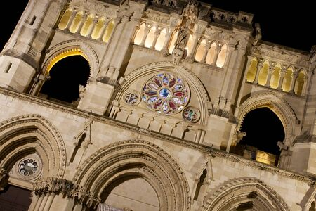 close view of the cuenca cathedral facade Stock Photo