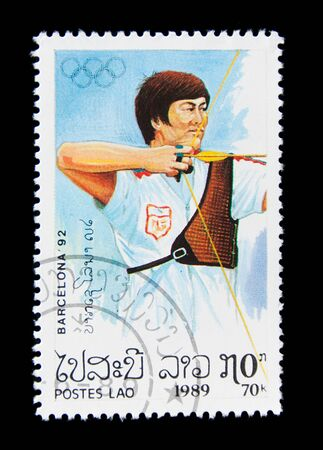 LAOS  - CIRCA 1989: A stamp printed in Laos shows archery, series Olympic Games in Barcelona 1992, circa 1989 Editorial