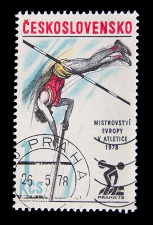 CZECHOSLOVAKIA  - CIRCA 1980: A stamp printed in Czechoslovakia  related with athletics, European Athletics Championships in prague 1978, circa 1978