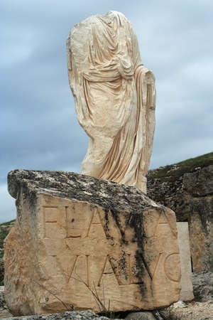 a sculpture in the famous roman ruins of segobriga