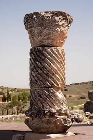 a broken column in the roman ruins of segobriga  Spain
