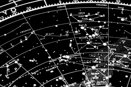 a map of the stars of the orion constellation  focus is in orion word Stock Photo