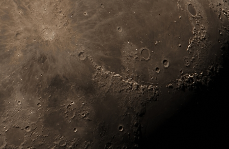 real detailed picture of the moon surface, taken with a great telescope using 5 meters of focal length
