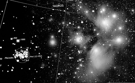 andromeda: a map of pleiades star cluster combined with a real picture taken with telescope Stock Photo
