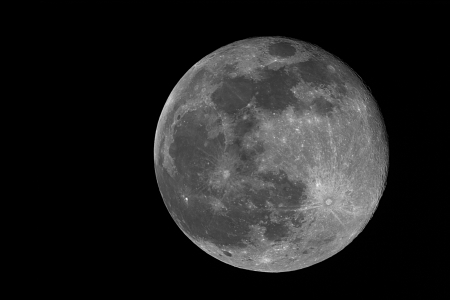 real image of the full moon taken with telescope